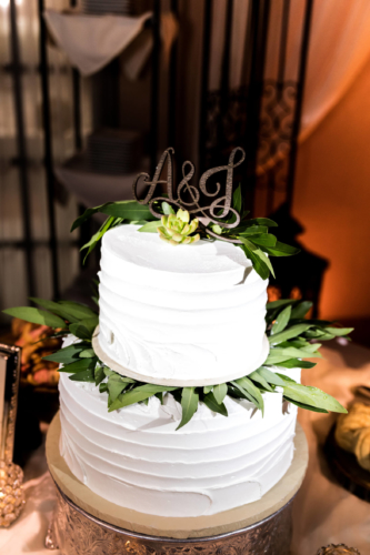 two tiered wedding cake closeup